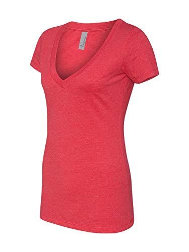 Next Level Ladies' CVC Deep V-Neck Tee (Red) (X-Large) (Deep V-neck Shirt)
