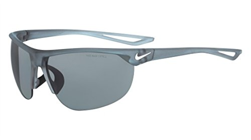 Nike Golf Cross Trainer Sunglasses, Matte Crystal Wolf Grey/White Frame, Grey with Silver Flash Lens (Lenses Flash Grey Silver)