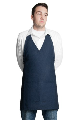 sic Look Tuxedo Apron V-neck Center Divided Pocket - Navy | 32