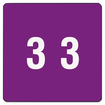 Smead 67423 Purple DCC Color-Coded Numeric Label - 3-1.50quot; Width x 1.50quot; Length - 250 / Roll - 250/Roll - Purple