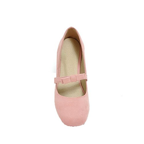 Allhqfashion Mujeres Solid Frosted Low-heels Zapatos Cerrados De Tacón Bajo-zapatos Pink