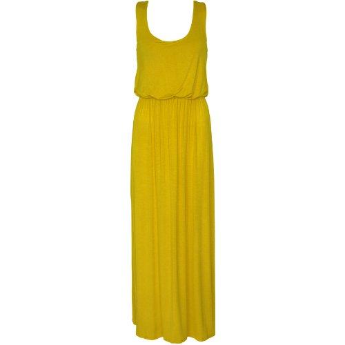 Fashion Wardrobe Womens Balloon Maxi Dress Ladies Sleeveles Racer Back Jersey Vest Long Skirt New (USA 6-8 / UK 8-10 (S/M), Yellow) (Balloon Skirt Dress)