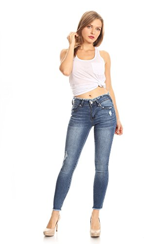 K's more Woman's Casual Destroyed Ripped Distressed Skinny Denim Jeans With Torn Frayes Hem ()
