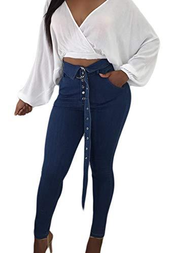 Casual Femmes Cheville Vepodrau Jeans Bleu Fonc Ceinture Skinny Pantalon Taille Haute Denim q4FtF6p