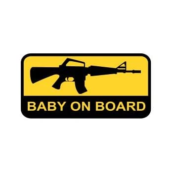 Assault Rifle Baby On Board AR-15 Gun Decal Sticker Funny Family Choose Colors