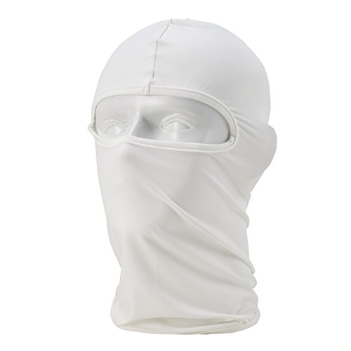 Maoko Motorcycle Outdoor Sports Hood Full Balaclava Windproof- Airsoft Riding Face Mask Hat White