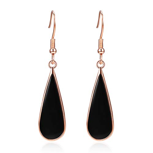 (YFN 925 Sterling Silver Black Onyx Teardrop Dangle Earrings Jewelry for Women)