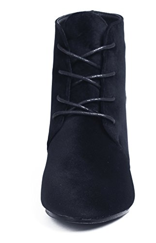 AgeeMi Shoes Mujers Suede Cordones Sólido Tacón de Cuña Caña Baja Botas Negro