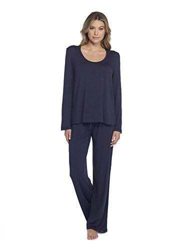 (Barefoot Dreams Luxe Milk Jersey Classic Pant   U-Neck Long Sleeve Tee Set Indigo Small)