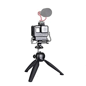 31Zpgi4TBpL. SS300  - Artman Vlogging Setup Kit for GoPro - Vlogging Housing Case Frame + Mini Tripod Kit Vlogging Setup with Microphone Cold Shoe Mount for GoPro Hero 7/6/5 Action Camera Accessories(Without Microphone)