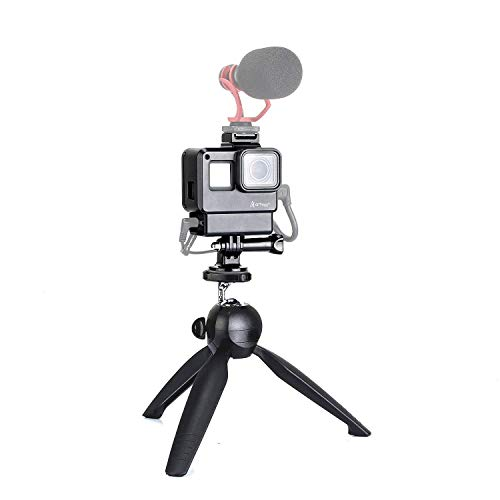Artman Vlogging Setup Kit for GoPro – Vlogging Housing Case Frame + Mini Tripod Kit Vlogging Setup with Microphone Cold Shoe Mount for GoPro Hero 7/6/5 Action Camera Accessories(Without Microphone)