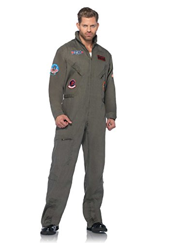 Leg Avenue Men's Top Gun Flight Suit Costume, Khaki/Green, Medium/Large - Mens Costumes