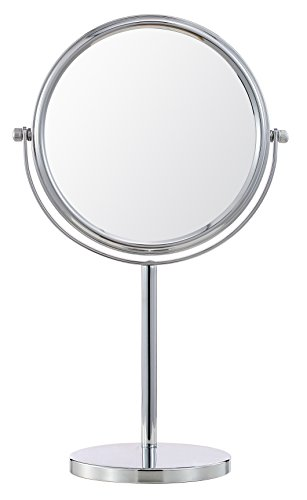 Cerdeco 8 Inch Two-Sided Makeup Mirror with 5x Magnification Vanity Mirror Tabletop Mirror Chrome Finished (Sided Two Lighted Makeup Mirror)