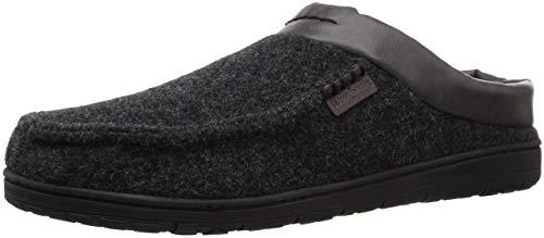 Dearfoams Men's Mixed Material Moc Toe Clog Slipper, Black, M Regular US
