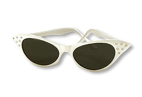 50s gafas de sol blancas con diamantes de imitación: Amazon ...