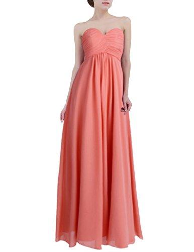 Freebily Vestido Largo Elegante Mujer Chica para Fiesta Cóctel Graduación Boda Vestido de Noche Coral