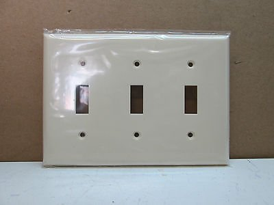 Premier Three 3 Gang Toggle Switch Cover Wall Plate Light Almond