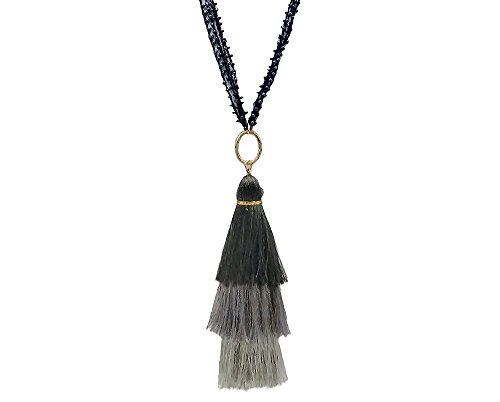 [Handmade 3 Layered Ombre Tassel Pendant Necklace with Seed Beads] Jet Black-Gray (4/4) ()
