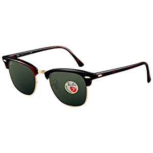 Ray Ban RB3016 Clubmaster Sunglasses (49 mm, Tortoise Frame Solid Polarized Lens)