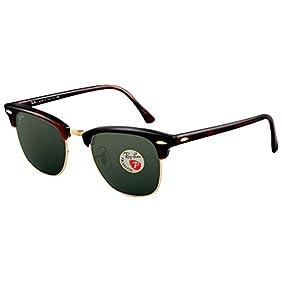 Ray Ban Sunglasses Clubmaster 3016 (49 mm, Tortoise Frame Polarized Black Lens)