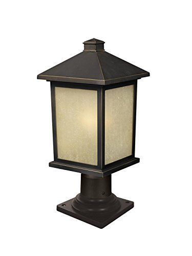 Z-Lite 507PHM-533PM-ORB Holbrook Outdoor Post Light, Metal Frame, Oil Rubbed Bronze Finish and Tinted Seedy Shade of Glass Material by - Shades Holbrook