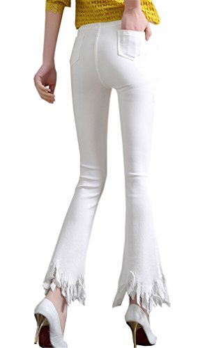Stretch Calzoni Primavera Cargo Strappati Clothing Frange Pantaloni Donne cent Cut Nove Leggings Bianco Nuova Boot Bordi Coco 4CqZwOxx