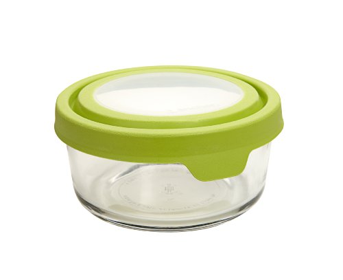 Anchor Hocking 2-Cup Round Glass Food Storage Containers with Green TrueSeal Airtight Lids, Set of 6