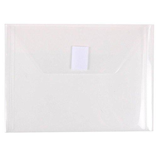 JAM PAPER Plastic Envelopes with Hook & Loop Closure - Index - 5 1/2 x 7 1/2 - Clear - - Plastic Envelopes Budget