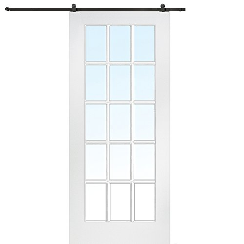 National Door Company Z009560 Primed MDF 15 Lite True Divided Clear Glass 36'' x 80'', Barn Door Unit by National Door Company