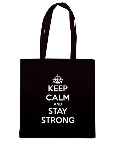 Shirt Speed AND KEEP Borsa STAY CALM STRONG TKC0786 Shopper Nera pwgdqw