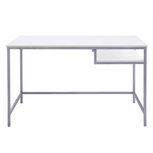 FIVEGIVEN White Modern Computer Desk Simple Writing Study Desk with Shelf Underneath, 48 Inch (White Desk Computer Modern)