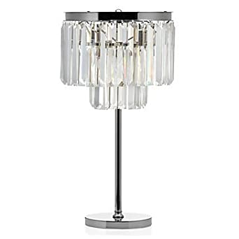 Table Lamp ,Crystal Nickel Plated Iron Frame Glass Fringe Luxe Crystal Table Lamp Bedroom Night Light (Nickel) by Decomust