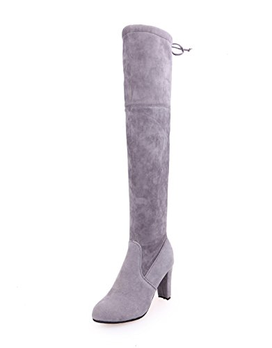 Thigh Suede Grey Over High Blivener The Womens Knee Boot Boots Heel High 5xwWSf47