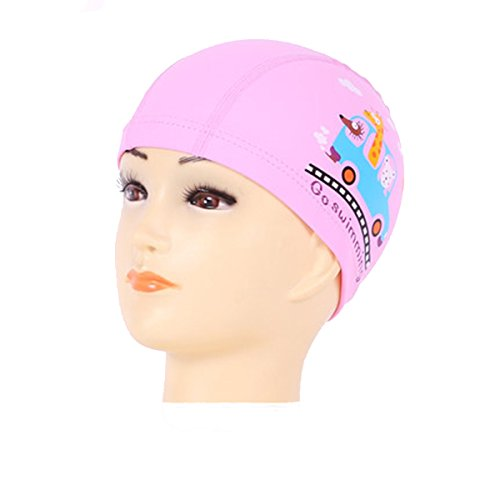 Peacoco Lycra Swim Cap PU Swimming Cap for Kids Girls Boys and Youth Waterproof Swim Caps Protective Ear Caps-Keep Long Hair Dry-Training and - In Stores Swimming Caps