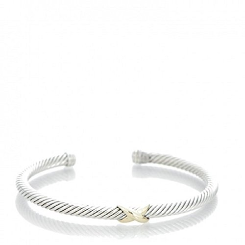 David Yurman Women's X-Station Cable Bracelet Medium Silver & Gold by David Yurman by David Yurman