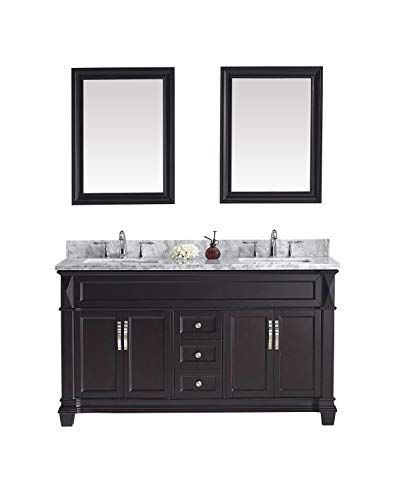 Virtu USA Victoria 60 inch Double Sink Bathroom Vanity Set in Espresso w/Square Undermount Sink, Italian Carrara White Marble Countertop, No Faucet, 2 Mirrors - MD-2660-WMSQ-ES ()