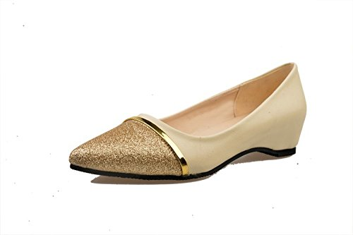 shoes mouth small Women's Shallow PU flat pointed wedge elegant Artificial Beige Pointed Casual thin wCqCBpE