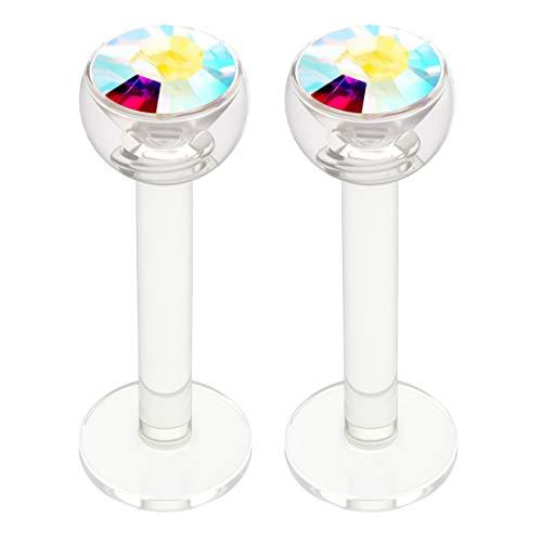 Bling Unique 2pcs 16g Bioplast Labret Monroe Lip Ring 3mm AB Gem Bioflex Tragus Earring Stud Piercing Jewelry - Gem Bioplast Aurora