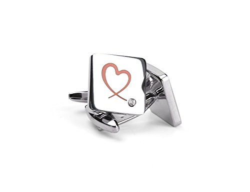 welbijoux Cufflinks Unique Square Heart Engraved Cufflinks Crystal Shirts Silver Cuff Links for Men 1 Pairs Set Box