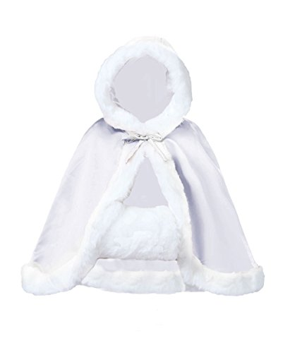 Wedding Cape Hooded Cloak for Bride Winter Reversible with Fur Trim Free Hand Muff Hip-length ()