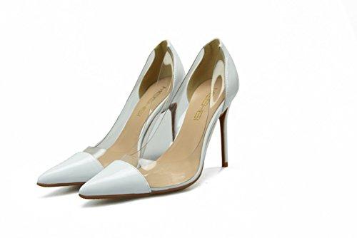 De blanco Tacones Transparente Charol Boca Zapatos Baja Mujer Sexy Punta Verano Plstico 39 Costura Sbl Aguja Con 5gwSp5