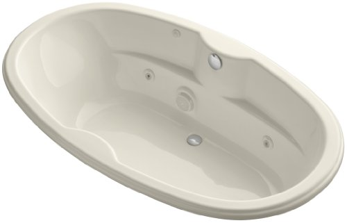 Proflex 7242 Whirlpool - Kohler K-1148-HD-47 7242 Oval Whirlpool with Custom Pump Location and Heater, Almond