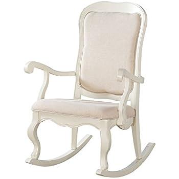 Awesome Amazon Com Slat Back Rocking Chair White Kitchen Dining Short Links Chair Design For Home Short Linksinfo