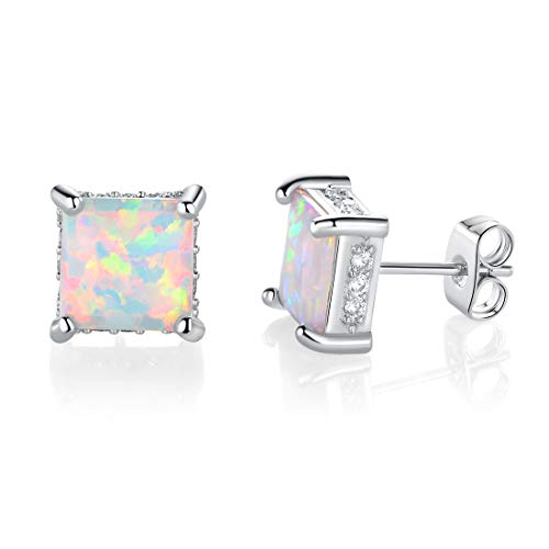 18K White Gold Plated Opal Princess Cut Square Stud Earrings Hypoallergenic Studs for Women with Sensitive Ears Jewelry -