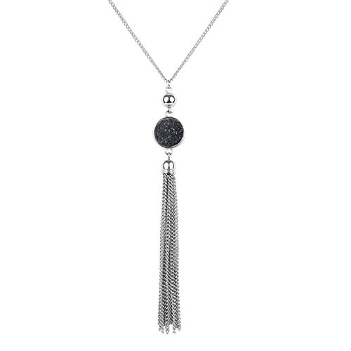 BOUTIQUELOVIN Women's Long Pendant Tassel Chain Necklace with Black Druzy Stone for Fall Winter