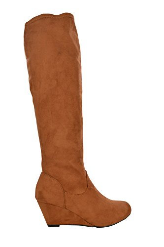 HEEL STRETCH LADIES BOTAS MUJER LOW CASUAL KNEE HIGH WEDGE FAUX SUEDE TAMAÑO TXgXwxq8AZ