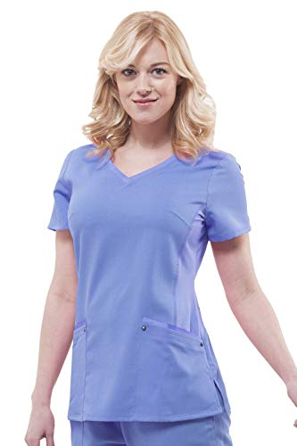 Purple Label Yoga Juliet 2245 V-Neck Scrub Top with Stretch Side Panels- Ceil Blue- Small