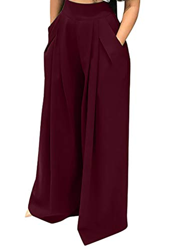SHINFY Womens Pleated Wide Leg Elastic Band Casual Palazzo Long Pants Wine