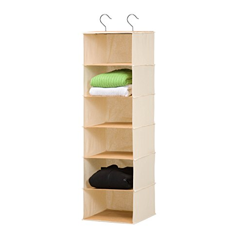 Honey-Can-Do SFT-01003 Hanging Closet Organizer, Bamboo/Canvas, 6-Shelf