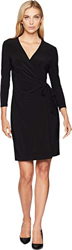 - Anne Klein Women's Solid Faux Wrap Dress, Black, Medium